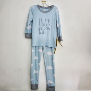 "Rae Dunn ""Think Happy"" Blue Cloud Pajamas Set"